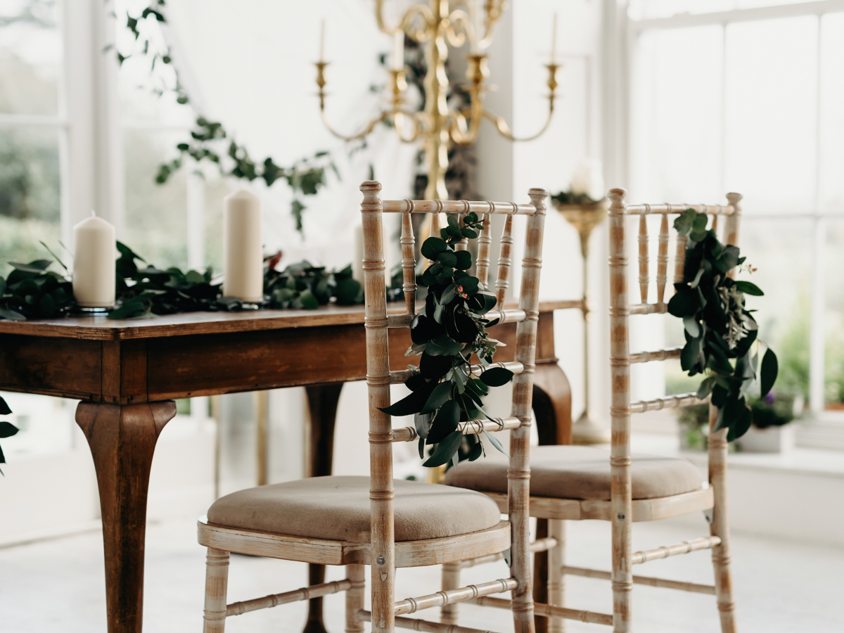 Horetown House wedding ceremony decor greenery