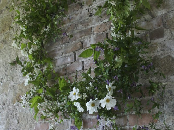 Borris House wedding flowers clematis cosmos