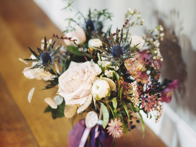 brides bouquet autumn wildflowers thistles berries seedheads