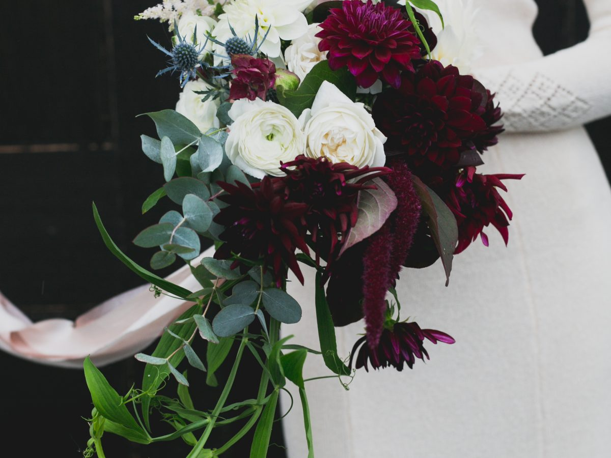 autumn brides bouquet dahlias ranunculus eualyptus burgundy
