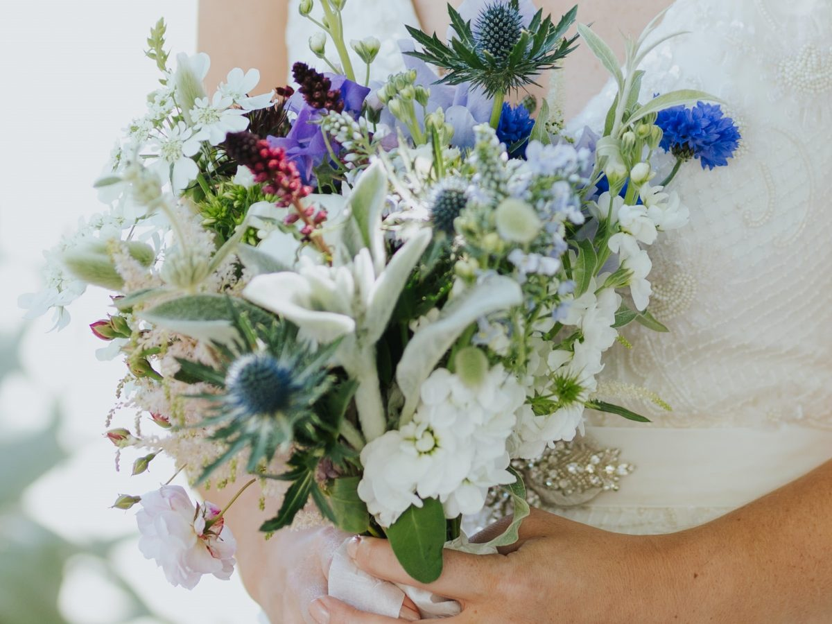 Summer wildflower brids bouquet blues cornflowers