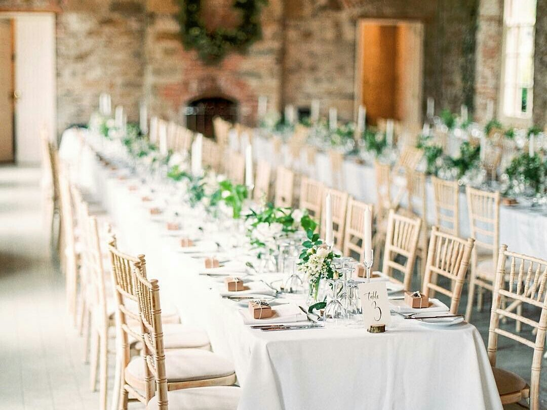 Borris House wedding spring greenery whites